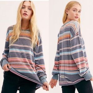 Free People Arielle Long Sleeve Aztec Striped Top